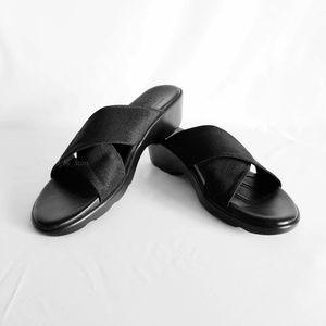 MUNRO • Black Walking Wedges - NWOB